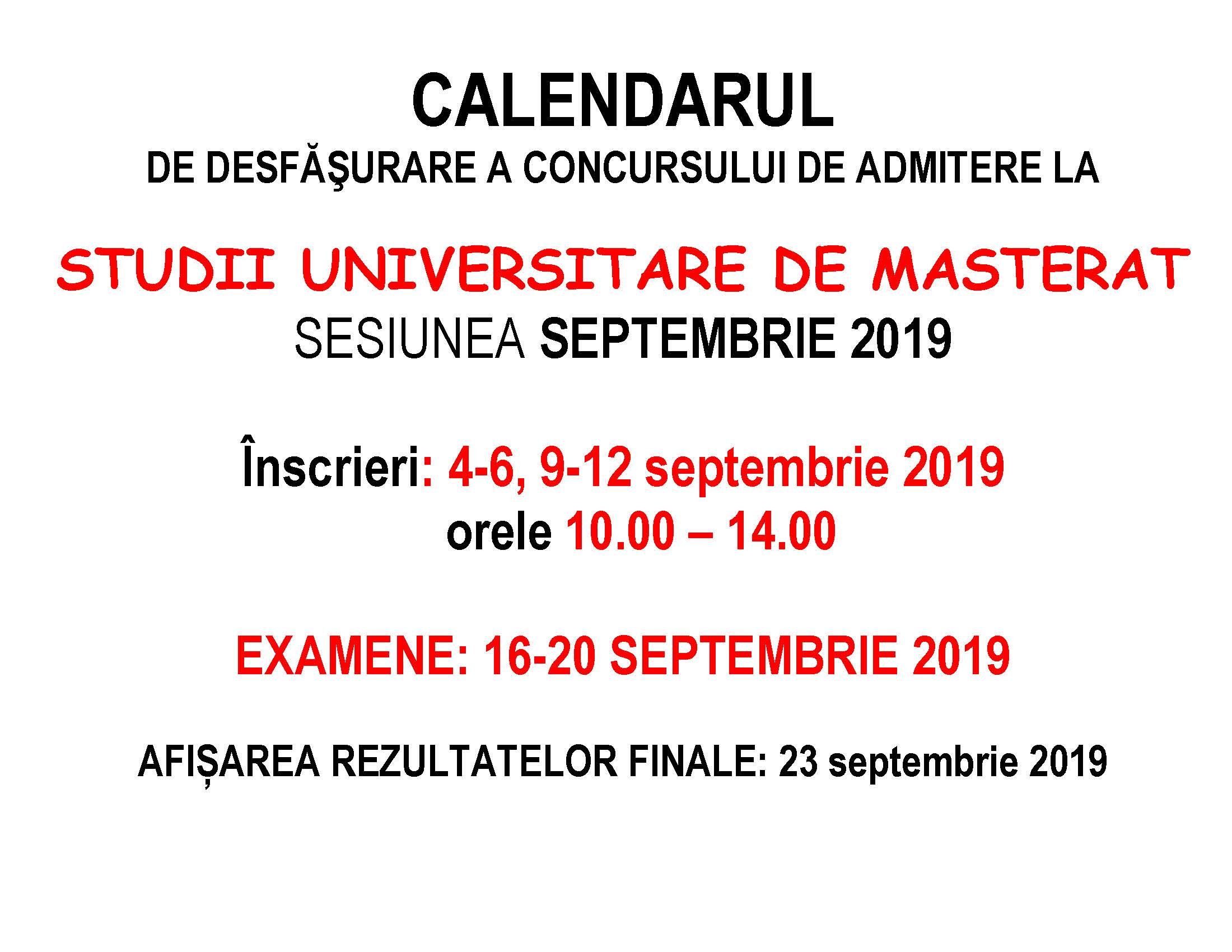 CALENDAR INSCRIERI MASTER septembrie 2019