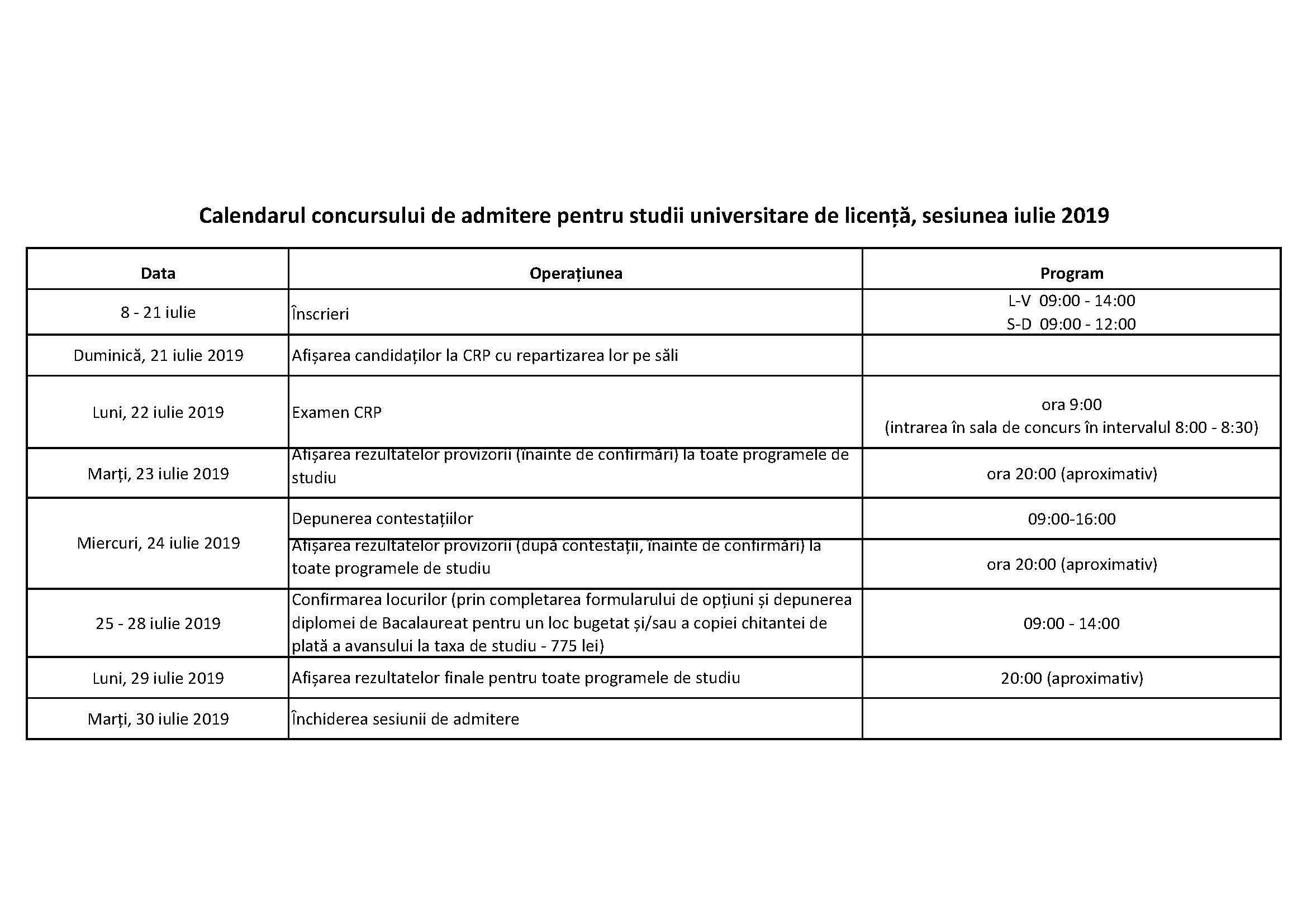 Calendar admitere iulie 2019 - 23 mai