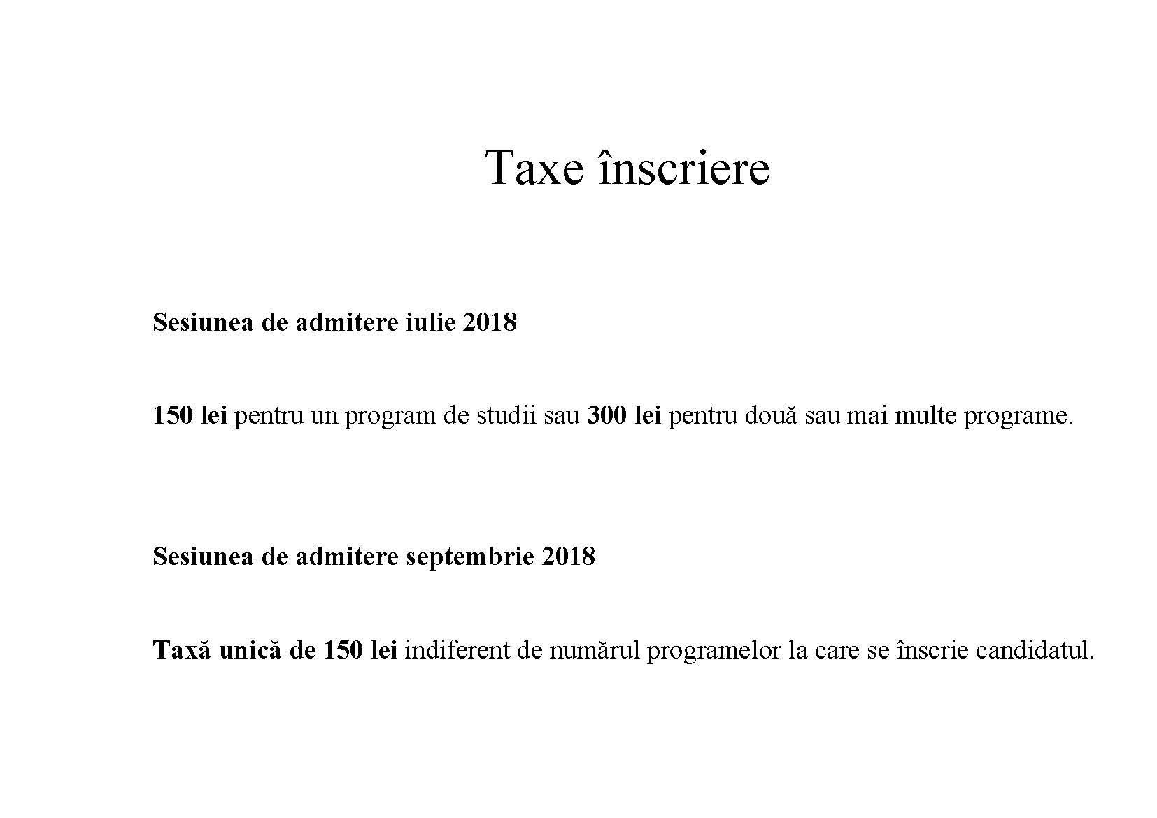 Taxe înscriere