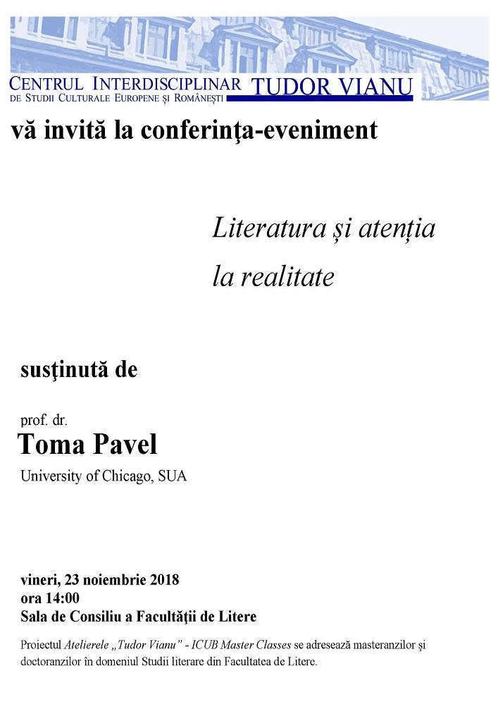 Afis conferinta Toma Pavel