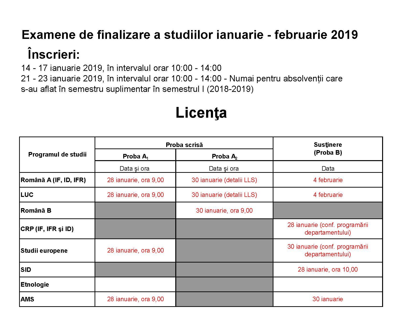 Programari examene de licenta si disertatie februarie 2019