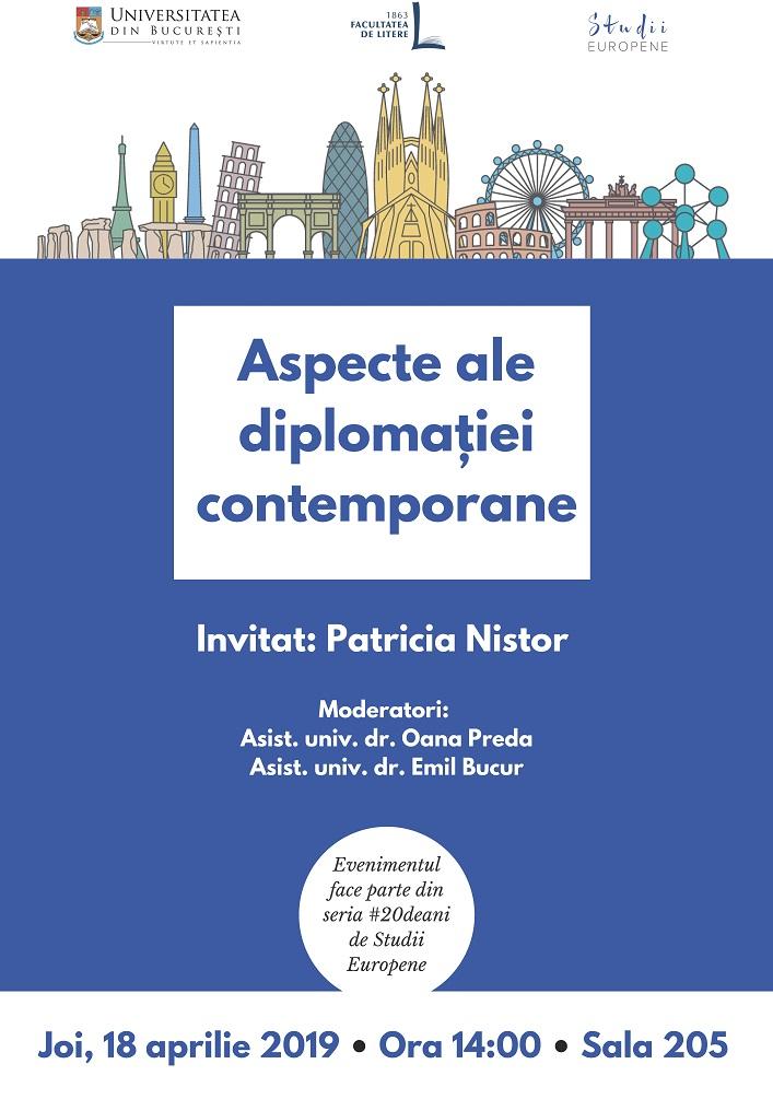V4 - Afiș - Aspecte ale diplomatiei contemporane