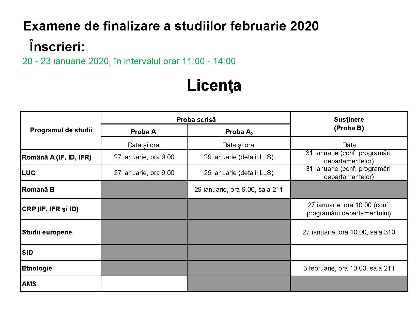 Programari examene de licenta si disertatie februarie 2020